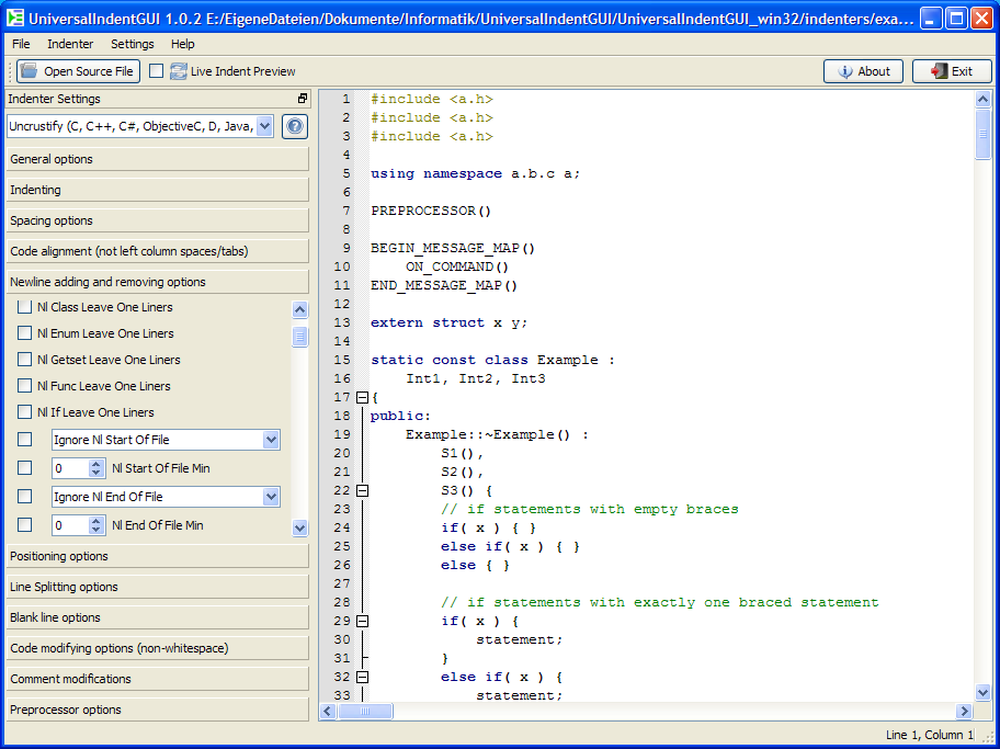 Click to view UniversalIndentGUI 1.2.0 screenshot